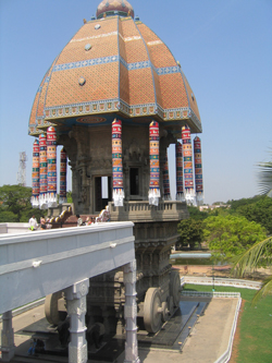 The chariot is a replica of the Thiruvaroor temple