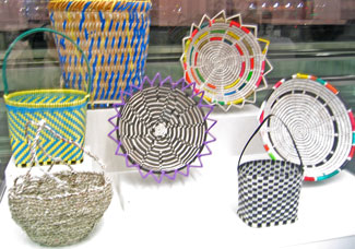Recycled colorful plastic baskets